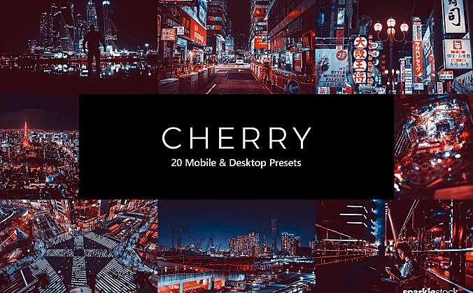 20款夜景城市接头樱桃红色调照片滤镜LR预设 20-cherry-lightroom-presets-luts