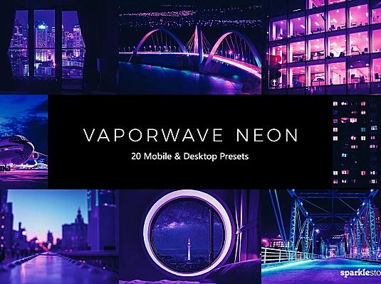 20款蒸气波霓虹灯蓝紫色调LR预设调色效果 20-vaporwave-neon-lightroom-presets