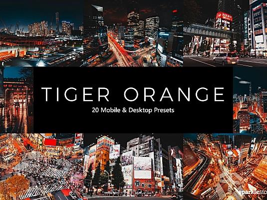 20款黑金火红色调城市夜景LR软件调色预设 20-tiger-orange-lightroom-presets-luts