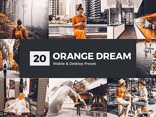 20款黑金黑橙色调LR调色滤镜预设文件+LUT预设 20 orange-dream-lightroom-presets-luts