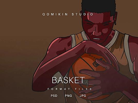 篮球青年插画&封面背景素材 Basket Illustration