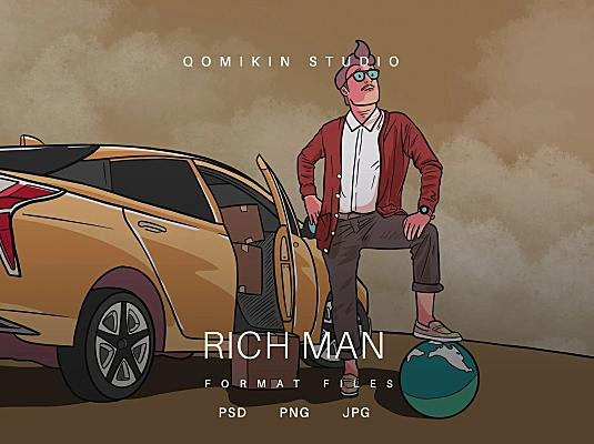 成功人士插画&封面背景素材 Rich Man Illustration