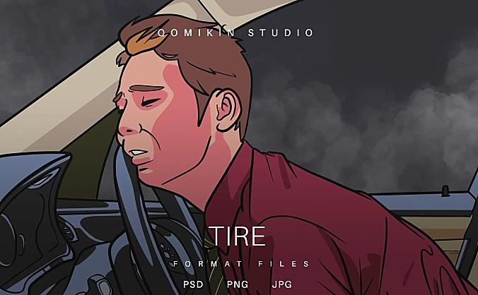 疲劳驾驶员插画&封面背景素材 Tire Illustration