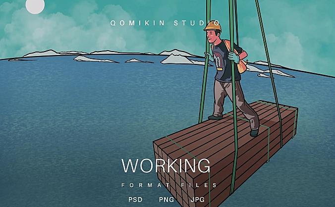 工作插画&封面背景素材 Working Illustration