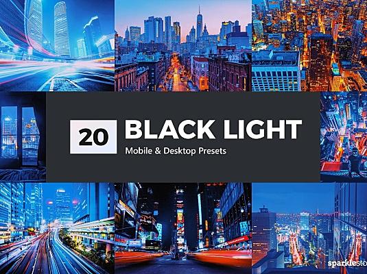 20款城市街道霓虹紫摄影后期LR滤镜预设 20-black-light-lightroom-presets-luts