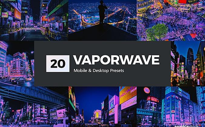 """20款""""反乌托邦""""未来主义外观摄影后期LR预设 20-vaporwave-lightroom-presets"""