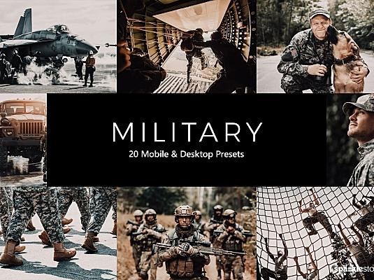 20款复古深色系军事主题LR调色滤镜预设 20-military-lightroom-presets-luts