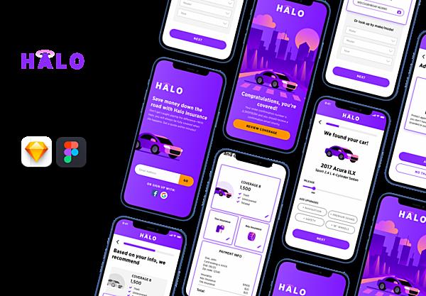 汽车保险服务应用程序App ui界面设计模板 Halo – Auto Insurance UI Kit