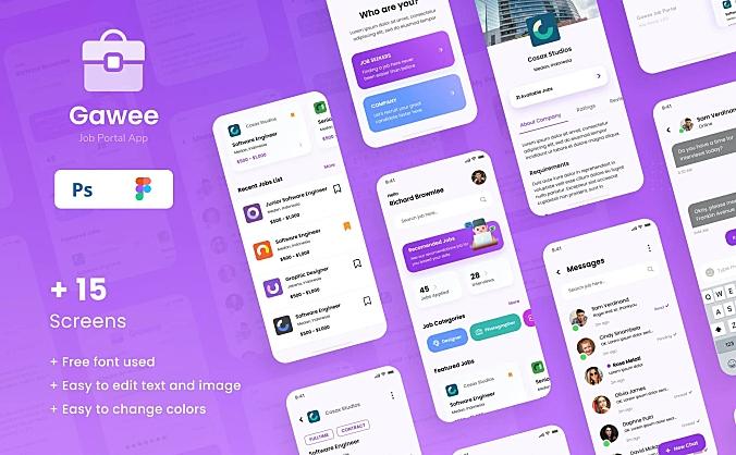 iOS求职找工作门户应用程序App ui界面设计模板 gawee-job-portal-ios-app template