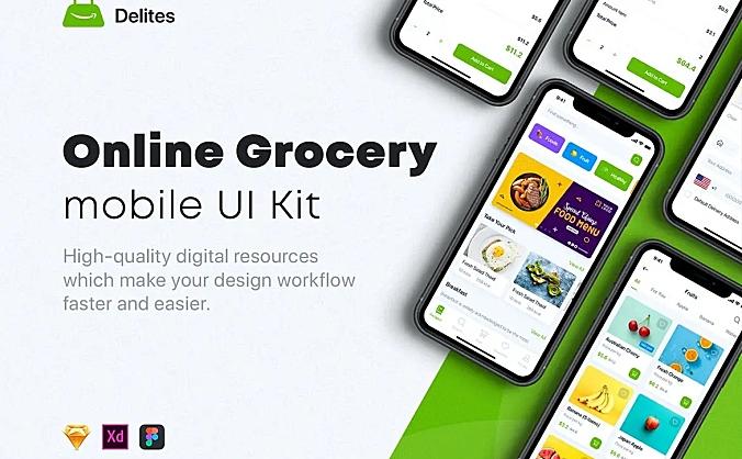 在线杂货店和食谱App应用UI套件 delites-online-grocery-recipes-ui-kit