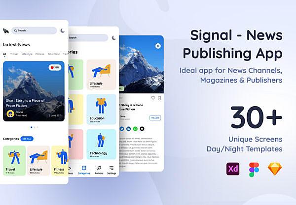新媒体平台新闻发布App应用程序ui设计模板 Signal – News Publishing App Sketch Template