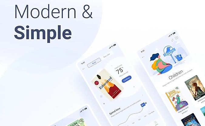 浅蓝色护眼版电子书籍APP ui 设计套件模板 Book Store – The fresh book app for nerd