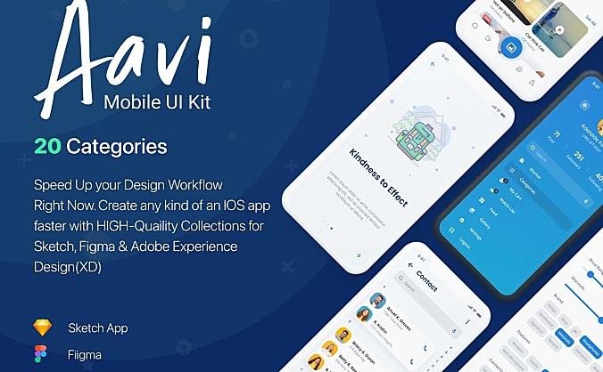 1000+常用的通用移动应用程序 UI 套件 Aavi Mobile App UI Kit