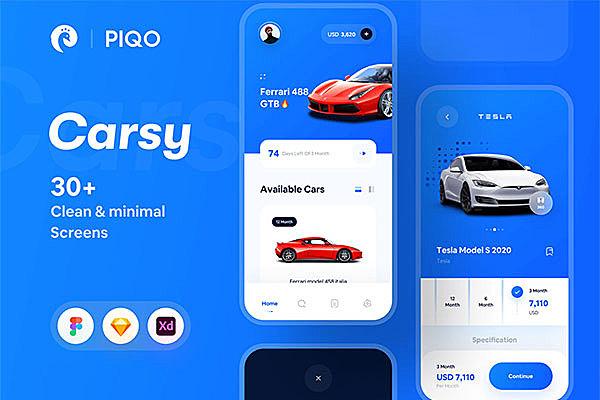 汽车购买&租赁App应用程序UI设计套件 Carsy UI Kit
