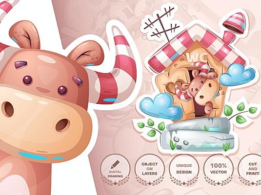 可爱厕所小牛动物无缝图案背景素材 Bull in the toilet – seamless pattern
