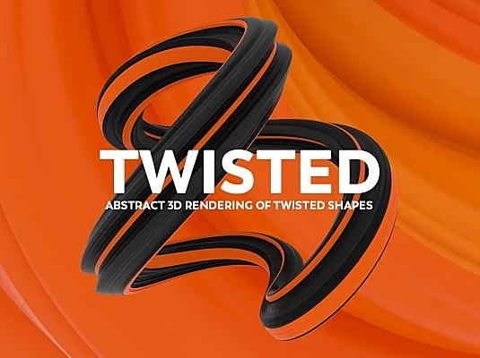 抽象3D绘制扭曲形状图案背景素材 abstract-3d-rendering-of-twisted-shapes