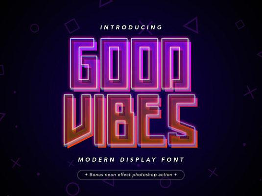 现代霓虹灯科技感显示字体 Good Vibes Modern Display Font