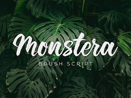 海报广告标题毛笔笔刷手写书法字体 monstera-SK5SQPL