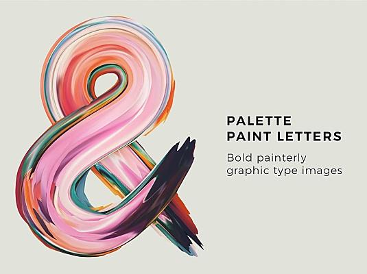 七彩炫丽调色板颜料艺术装饰字体 palette-paint-letters