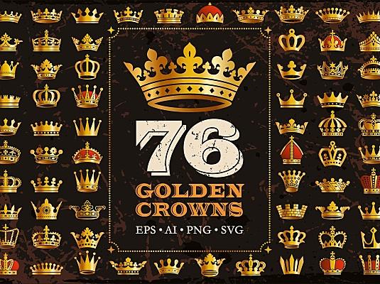 76个金色皇冠图标&矢量剪影 76-golden-royal-crowns-icons-vector-silhouettes