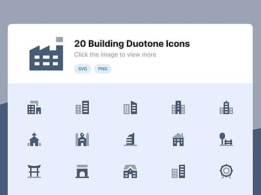 20枚双色调滤镜风格建筑主题图标 building-duotone-icons