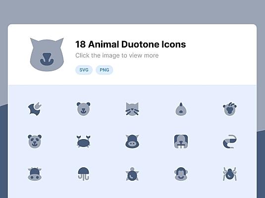 18枚双色调滤镜风格动物主题图标 animal-duotone-icons