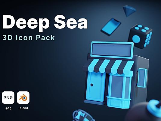 3D卡通深蓝色常用icon图标合集 deep-sea-3d-icons