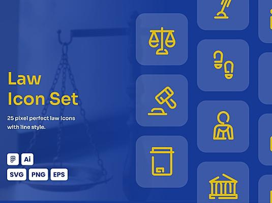 法律司法权威主题线条icon图标合集 law-dashed-line-icon-set