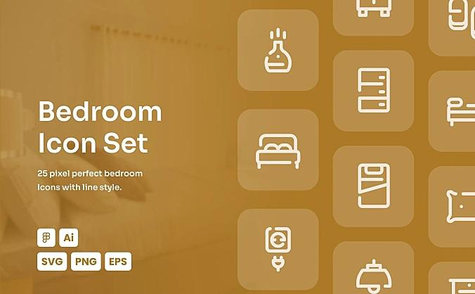 卧室房间主题常用线条icon图标合集 bedroom-dashed-line-icon-set