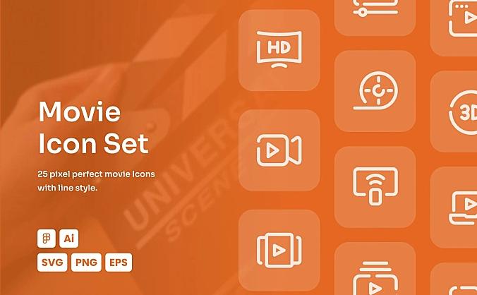电影主题网站APP常用线条icon图标合集 movie-dashed-line-icon-set