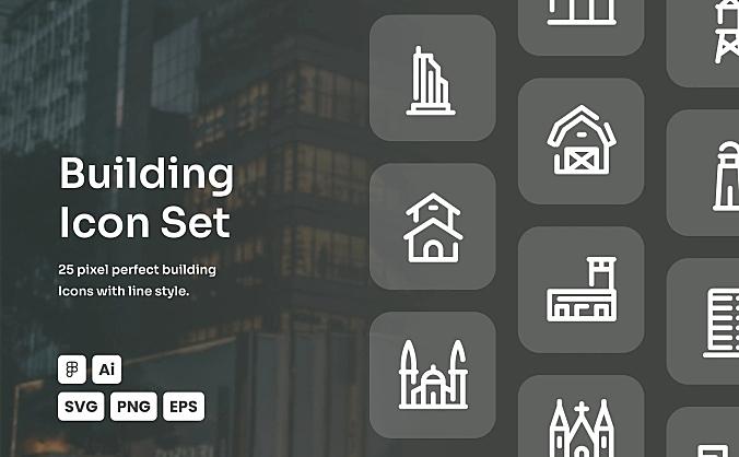 建筑主题网站APP线条icon图标合集 building-dashed-line-icon-set