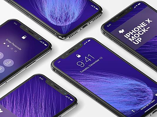 iPhone X平铺多屏幕设计样机智能图层 iphone-x-mockup
