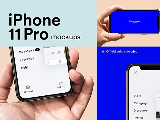 手持iPhone 11 Pro苹果手机设计样机模板 iphone-11-pro-mockups