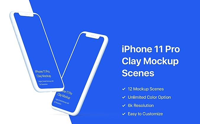 iPhone 11 Pro手机样机黏土陶瓷风格模板 iphone-11-pro-mockup-clay-mockup-pack
