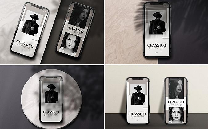植物阴影iPhone手机屏幕预览设计样机模板 modern-mobile-mockups