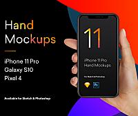 手持iPhone 11样机, 三星S10, Pixel 4手机样机合集 iPhone Mockup PSD
