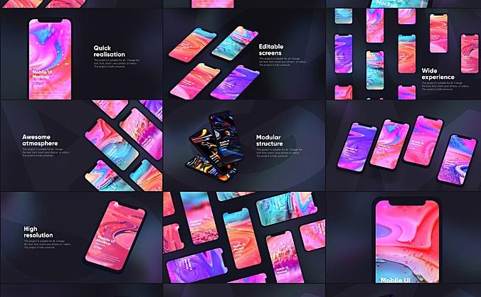 深色系iPhone手机等距网格UI界面设计样机模板 dark-iphone-mockup