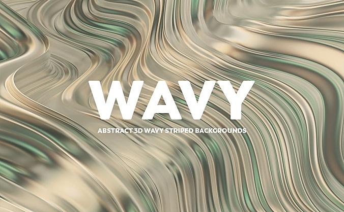 金绿色3D抽象波浪条纹背景图素材 abstract-3d-wavy-striped-backgrounds-gold-green
