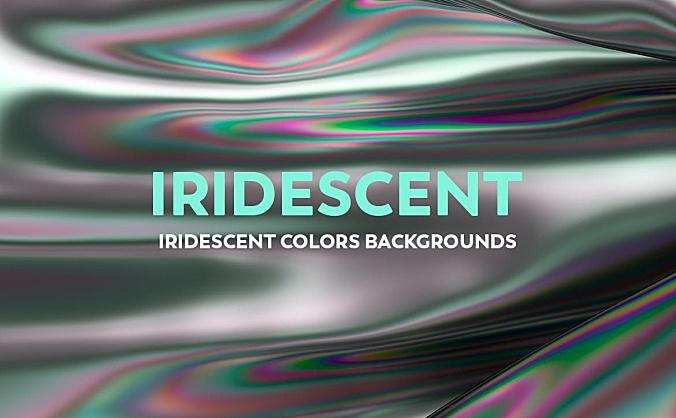 彩虹色金属液体质感高清抽象背景图素材 iridescent-abstract-backgrounds
