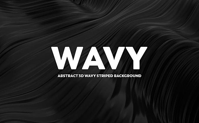 黑色波浪抽象3D条纹背景图素材 abstract-3d-wavy-backgrounds-black-color