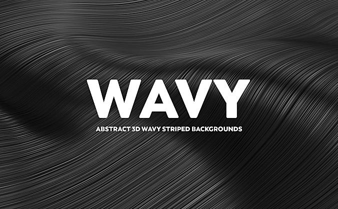 金属黑暗系3D抽象波浪条纹高清背景图 abstract-3d-wavy-striped-backgrounds-black-color