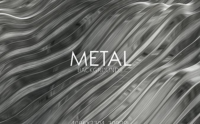 银色3D抽象拉丝金属背景图素材 metal-backgrounds
