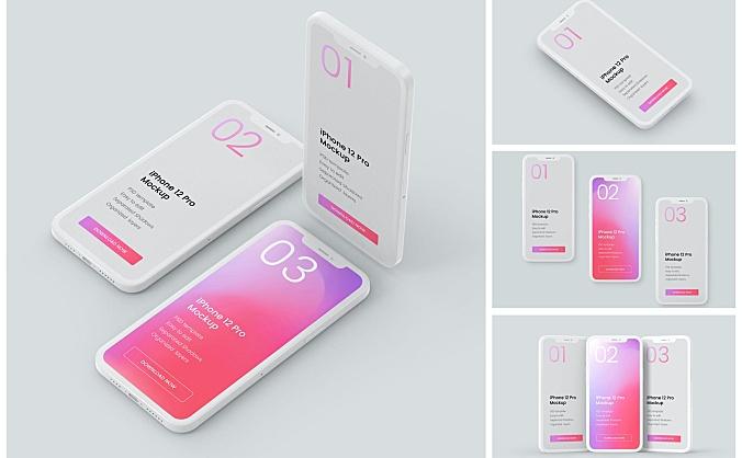 iPhone 12 Pro手机粘土样机设计模板 iphone-12-pro-clay-mockup-set