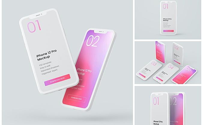 iPhone 12 Pro手机粘土设计样机素材 iphone-12-pro-clay-mockup-set