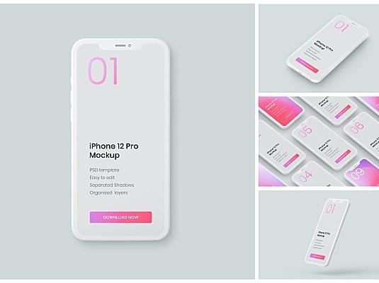 iPhone 12 Pro手机粘土设计样机素材V2 iphone-12-pro-clay-mockup-set.zip