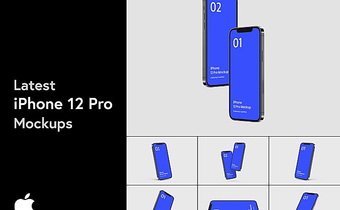iPhone 12 Pro苹果手机设计样机-20个场景 iPhone 12 Pro Mockup – 20 Exclusive Mockups Scenes