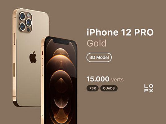 土豪金iPhone 12 Pro 3D设计样机 iPhone 12 PRO Gold 3D Model