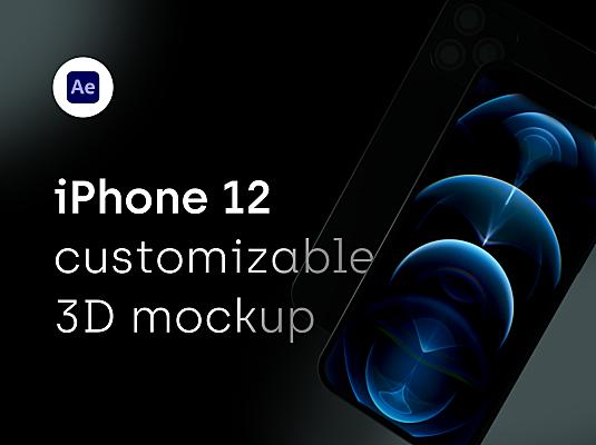 iPhone 12 Pro手机动画3D样机设计模板 iPhone 12 Pro – 3D mockup