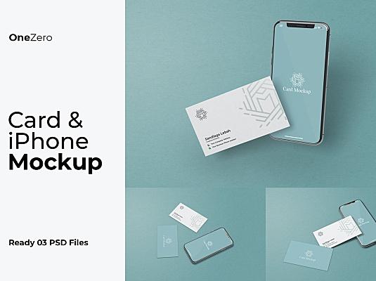 iPhone&名片同框广告设计样机模板 card-and-iphone-mockup