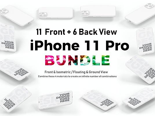 iPhone 11 Pro粘土风格多角度展示设计样机套装 iphone-11-pro-mockup-bundle